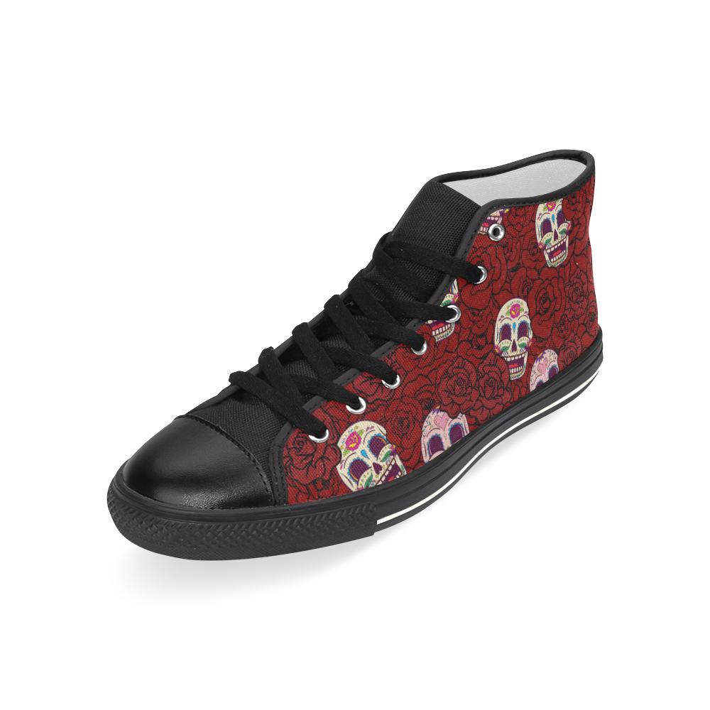 Rose Sugar Skull Men's Classic High Top Canvas Shoes (Model 017)