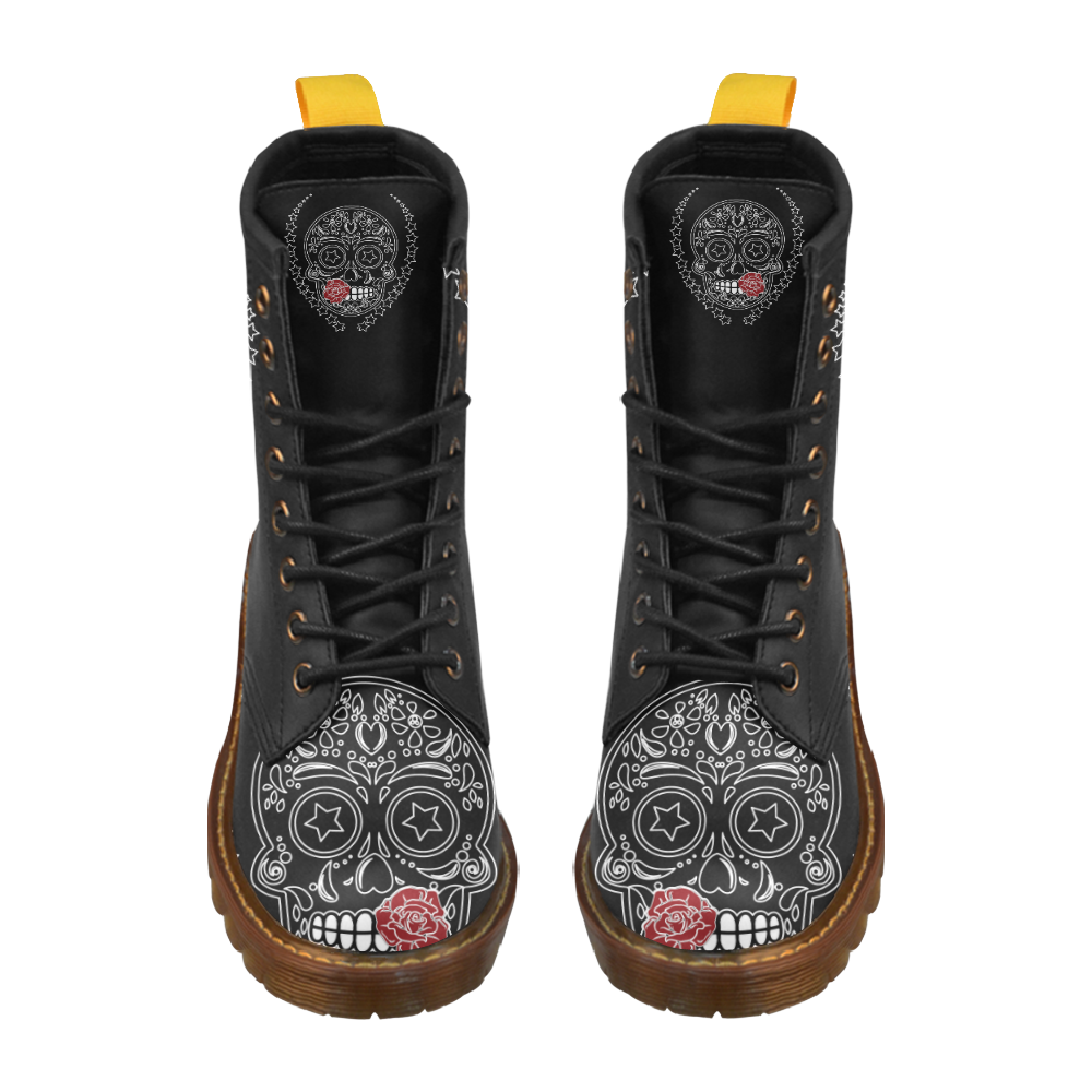 Sugar Skull Red Rose High Grade PU Leather Martin Boots For Women Model 402H