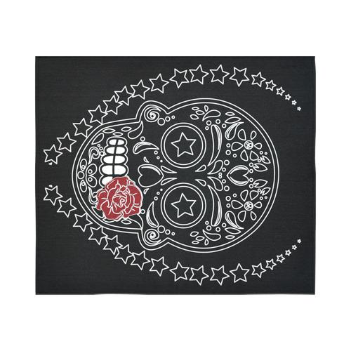 """Sugar Skull Red Rose Cotton Linen Wall Tapestry 60""""x 51"""""""
