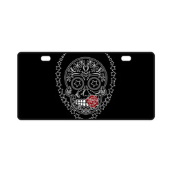Sugar Skull Red Rose License Plate