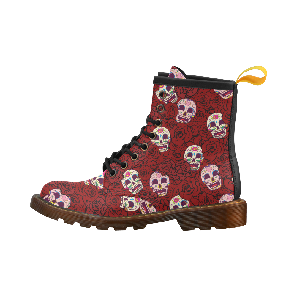 Rose Sugar Skull High Grade PU Leather Martin Boots For Women Model 402H