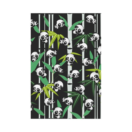 Satisfied and Happy Panda Babies on Bamboo Garden Flag 12''x18''(Without Flagpole)