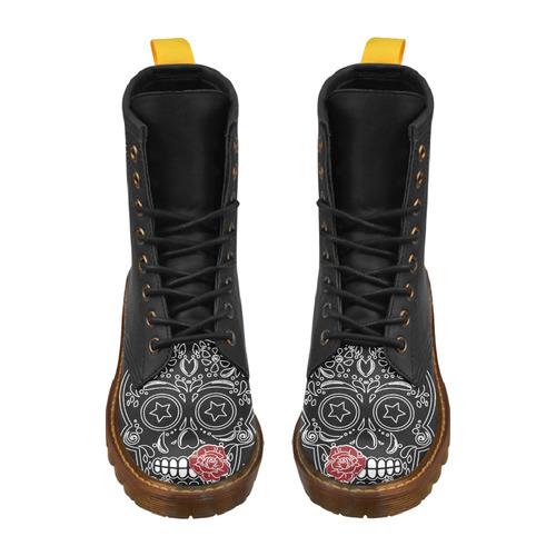 Sugar Skull Red Rose High Grade PU Leather Martin Boots For Men Model 402H