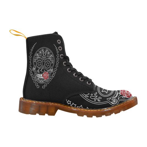 Sugar Skull Red Rose Martin Boots For Men Model 1203H