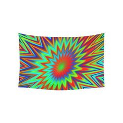 """Red Yellow Blue Green Retro Explosion Of Color Cotton Linen Wall Tapestry 60""""x 40"""""""