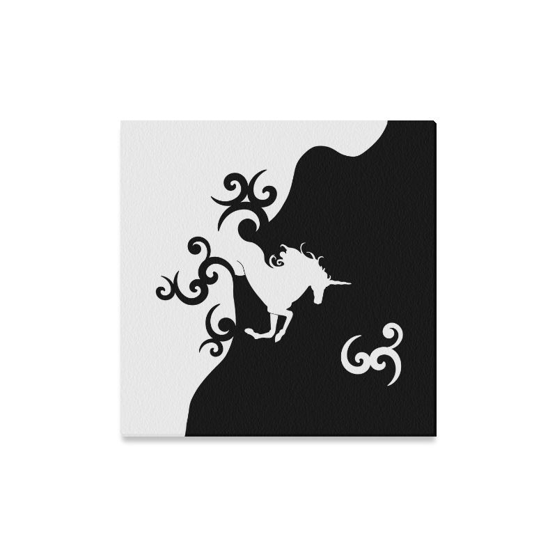"Black and White Shadowworld of Unicorns Canvas Print 16""x16"""
