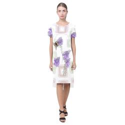 Bumblebee on Purple Flowers, floral watercolor Short Sleeves Casual Dress(Model D14)