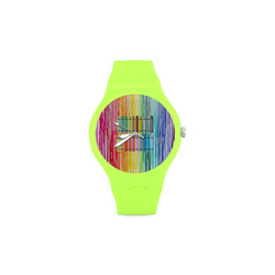 MELTED CRAYON Unisex Round Rubber Sport Watch(Model 314)