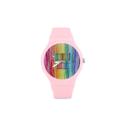 MELTED CRAYON Unisex Round Rubber Sport Watch(Model 314)