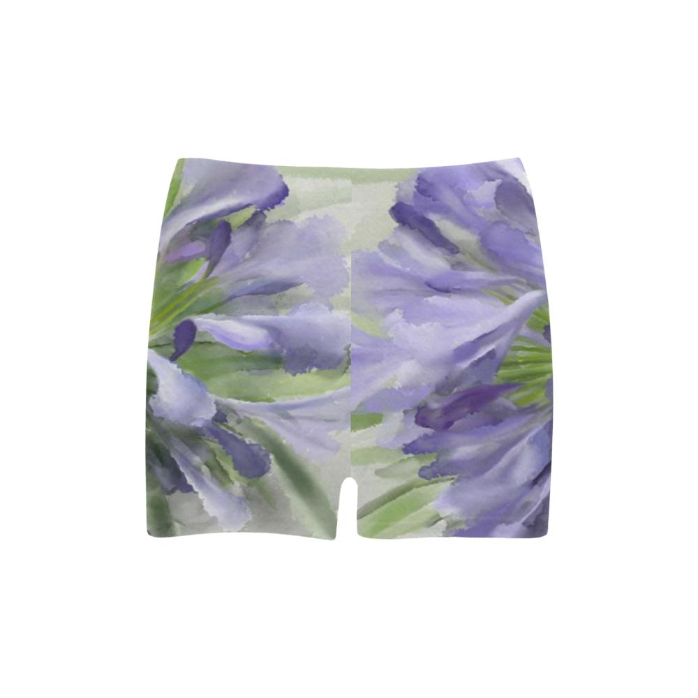 Delicate Purple Flowers, floral watercolor Briseis Skinny Shorts (Model L04)
