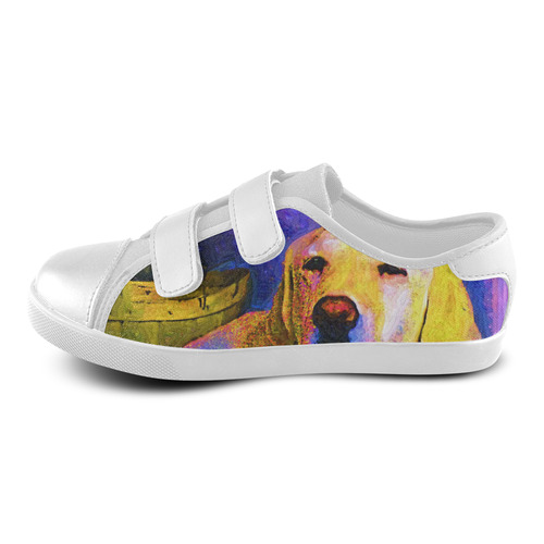 Painted Puppy Dog Velcro Canvas Kid's Shoes (Model 008)
