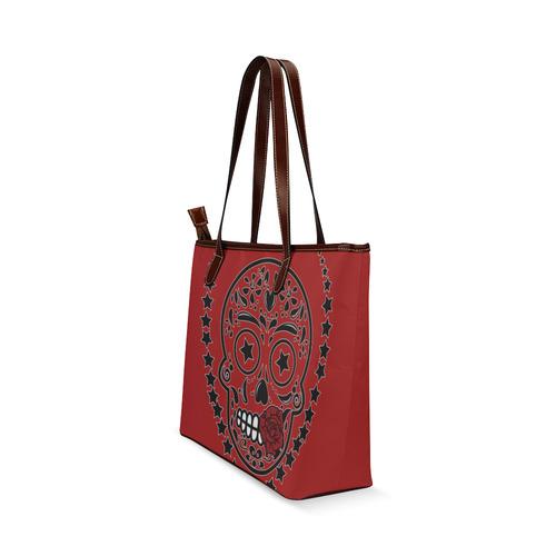 Sugar Skull Red Rose Black Shoulder Tote Bag (Model 1646)