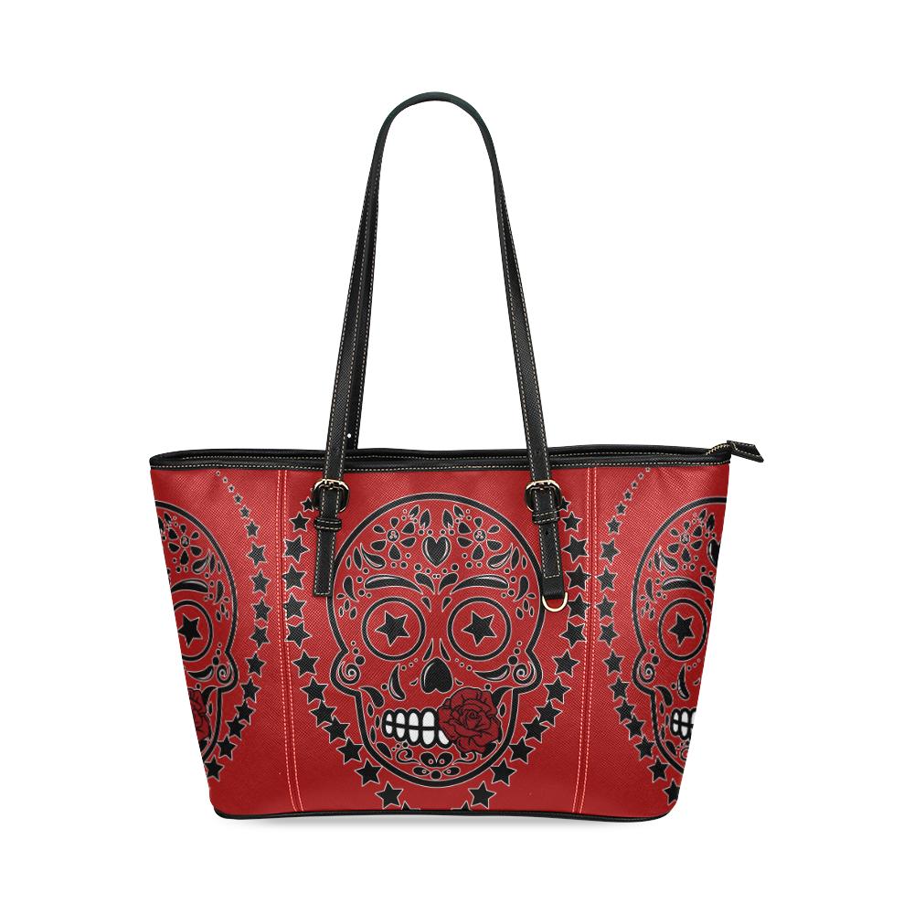 Sugar Skull Red Rose Black Leather Tote Bag/Large (Model 1640)