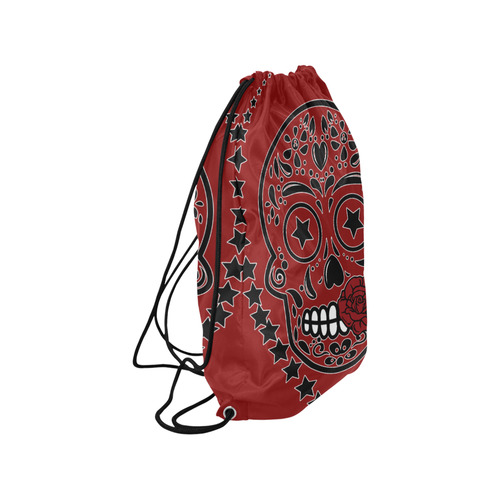 "Sugar Skull Red Rose Black Medium Drawstring Bag Model 1604 (Twin Sides) 13.8""(W) * 18.1""(H)"