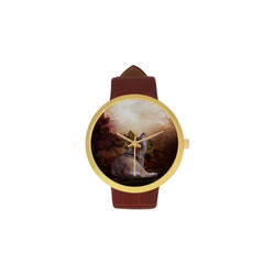 Beautiful wolf in the night Women's Golden Leather Strap Watch(Model 212)