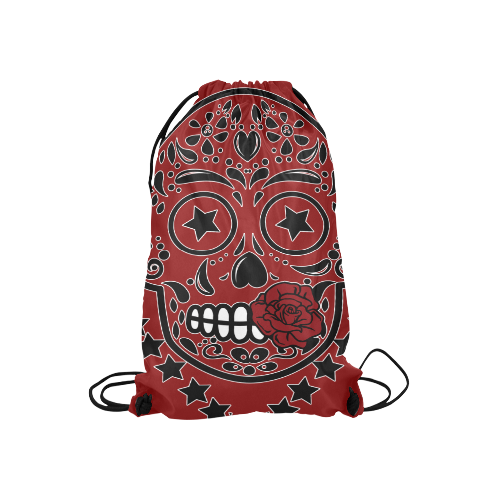 "Sugar Skull Red Rose Black Small Drawstring Bag Model 1604 (Twin Sides) 11""(W) * 17.7""(H)"
