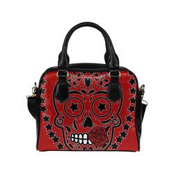 Sugar Skull Red Rose Black Shoulder Handbag (Model 1634)