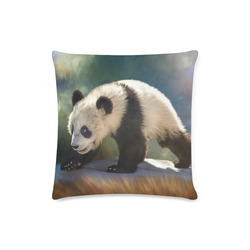 "A cute painted panda bear baby. Custom Zippered Pillow Case 16""x16"" (one side)"