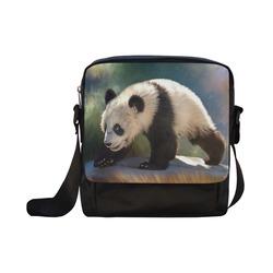 A cute painted panda bear baby. Crossbody Nylon Bags (Model 1633)