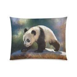 "A cute painted panda bear baby. Custom Zippered Pillow Case 20""x26""(Twin Sides)"