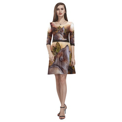 Beautiful wolf in the night Tethys Half-Sleeve Skater Dress(Model D20)