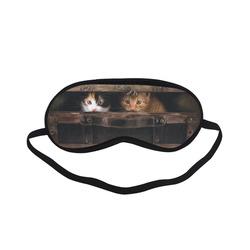 Little cute kitten in an old wooden case Sleeping Mask