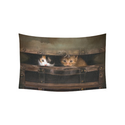 "Little cute kitten in an old wooden case Cotton Linen Wall Tapestry 60""x 40"""
