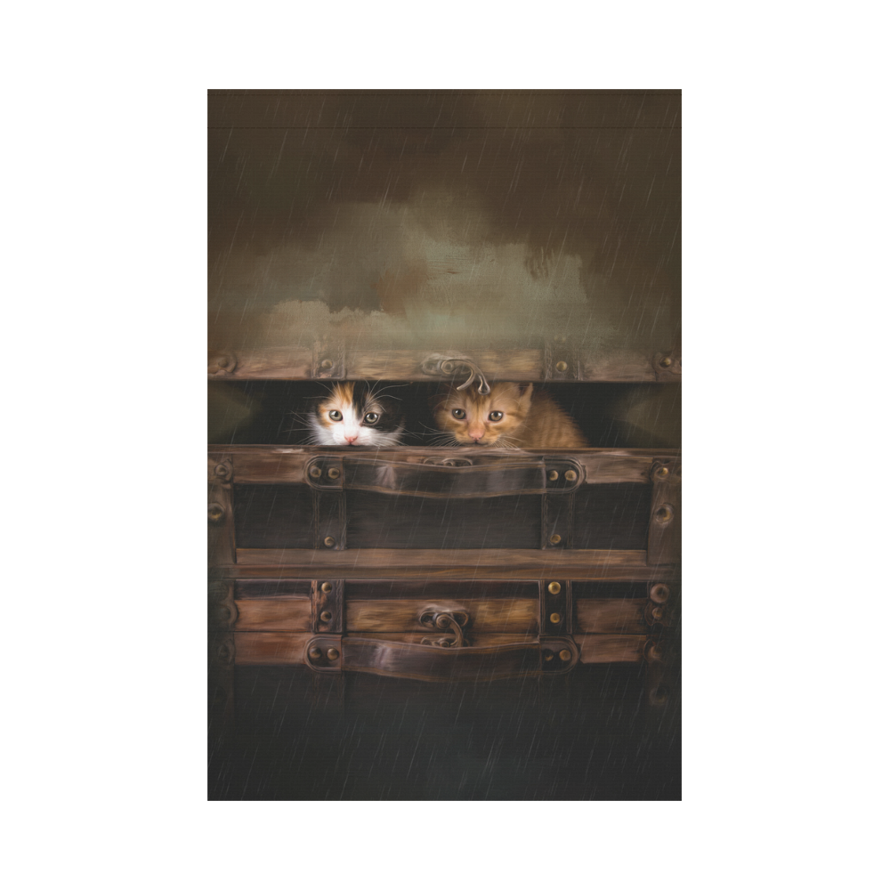 Little cute kitten in an old wooden case Garden Flag 12''x18''(Without Flagpole)