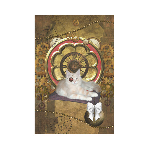 Steampunk, awseome cat clacks and gears Garden Flag 12''x18''(Without Flagpole)
