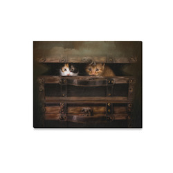 "Little cute kitten in an old wooden case Canvas Print 20""x16"""