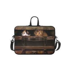 """Little cute kitten in an old wooden case Laptop Handbags 10"""""""