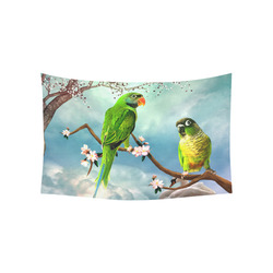 "Funny cute parrots Cotton Linen Wall Tapestry 60""x 40"""