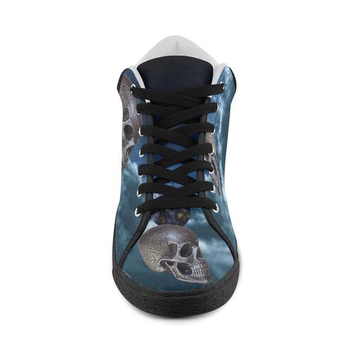 Skull and Moon Women's Chukka Canvas Shoes (Model 003)