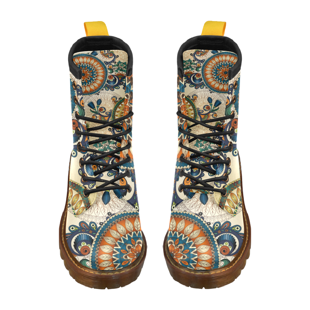 Boho - Retro Vintage Floral High Grade PU Leather Martin Boots For Women Model 402H