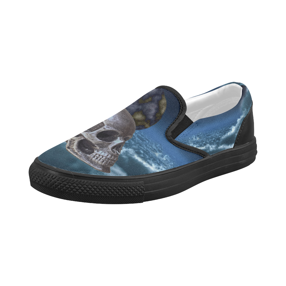 Skull and Moon Women's Slip-on Canvas Shoes (Model 019)