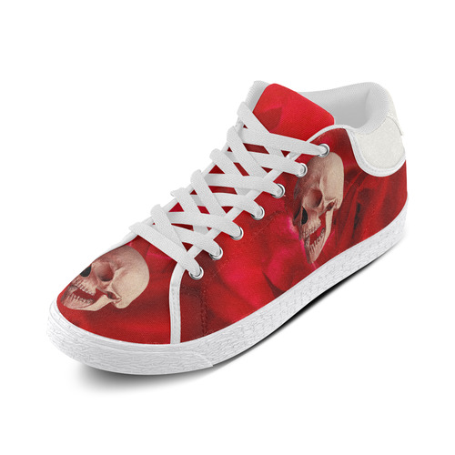 Funny Skull and Red Rose Women's Chukka Canvas Shoes (Model 003)