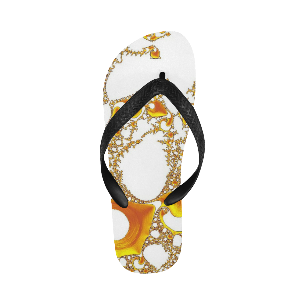 special fractal 04 orange Flip Flops for Men/Women (Model 040)