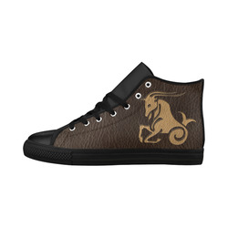 Leather-Look Zodiac Capricorn Aquila High Top Microfiber Leather Women's Shoes/Large Size (Model 032)