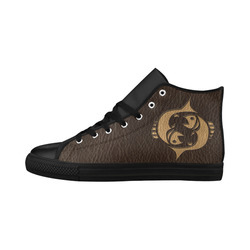 Leather-Look Zodiac Pisces Aquila High Top Microfiber Leather Women's Shoes/Large Size (Model 032)