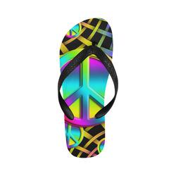 Neon Colorful PEACE pattern Flip Flops for Men/Women (Model 040)
