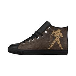 Leather-Look Zodiac Aquarius Aquila High Top Microfiber Leather Women's Shoes/Large Size (Model 032)