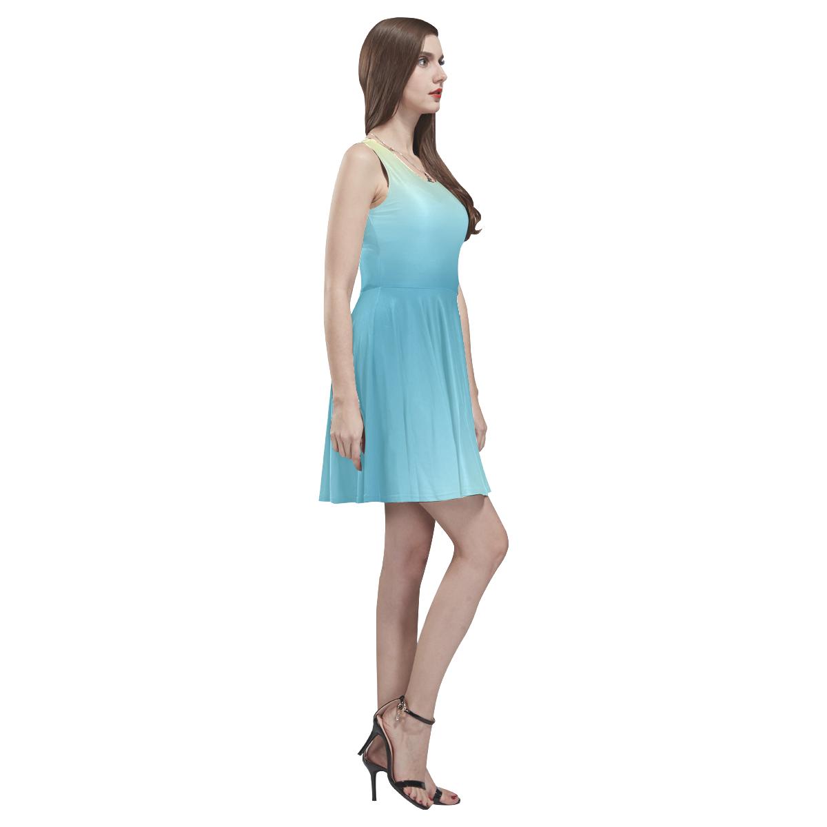 Pastel Ombre Gradient Thea Sleeveless Skater Dress(Model D19)