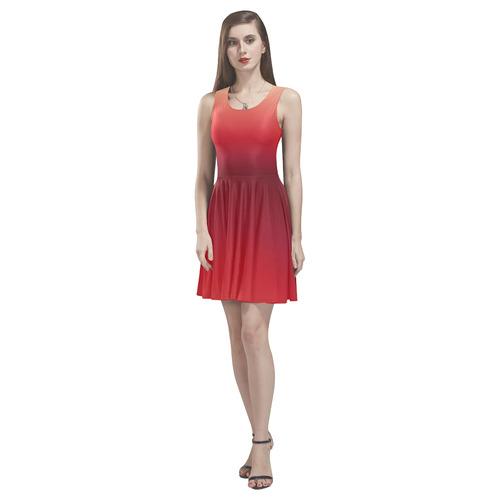 Red Ombre Gradient Thea Sleeveless Skater Dress(Model D19)