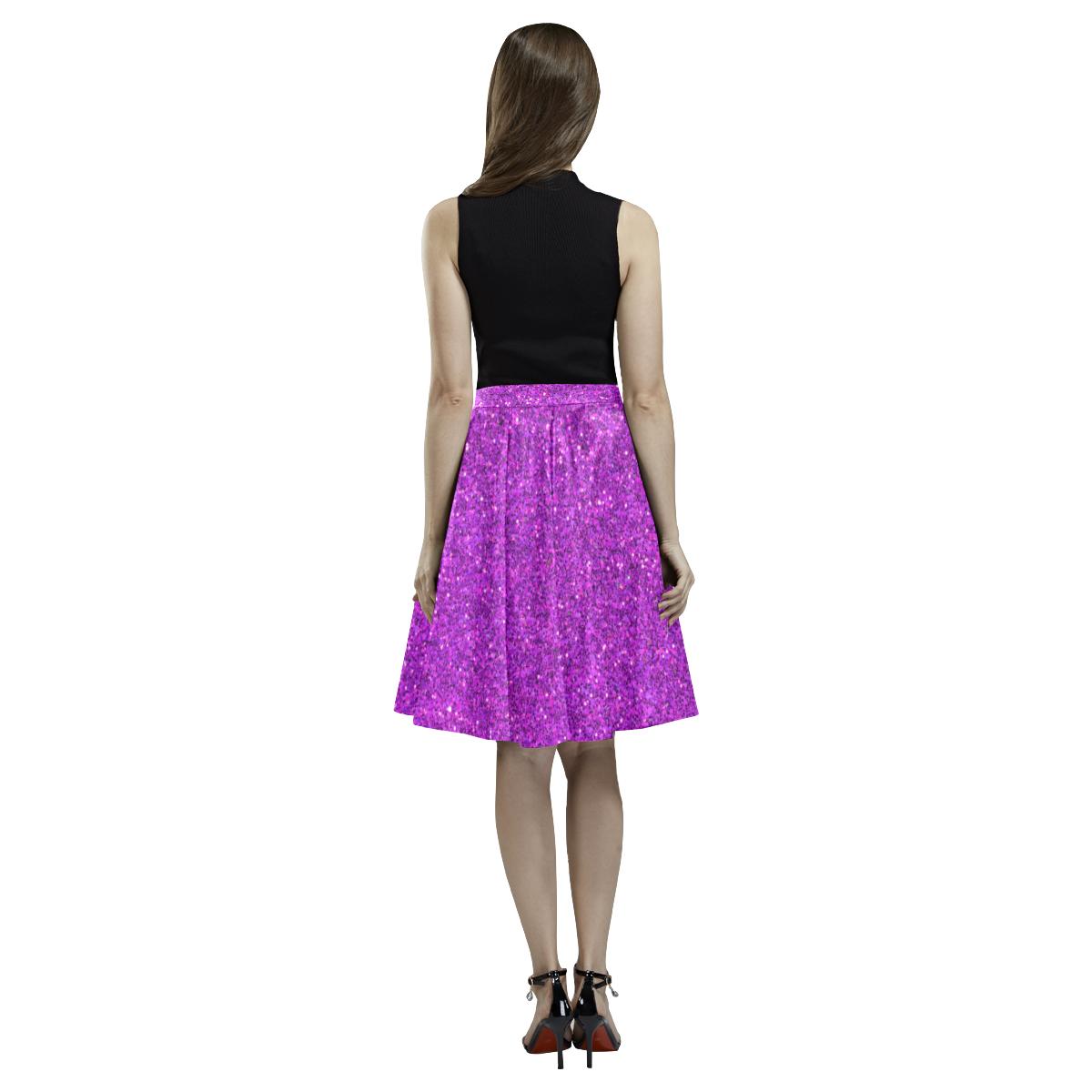 purple glitter Melete Pleated Midi Skirt (Model D15)