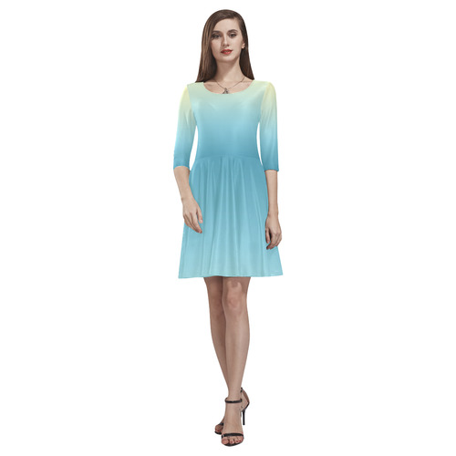 Pastel Ombre Gradient Tethys Half-Sleeve Skater Dress(Model D20)