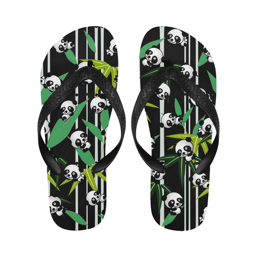 Satisfied and Happy Panda Babies on Bamboo Flip Flops for Men/Women (Model 040)