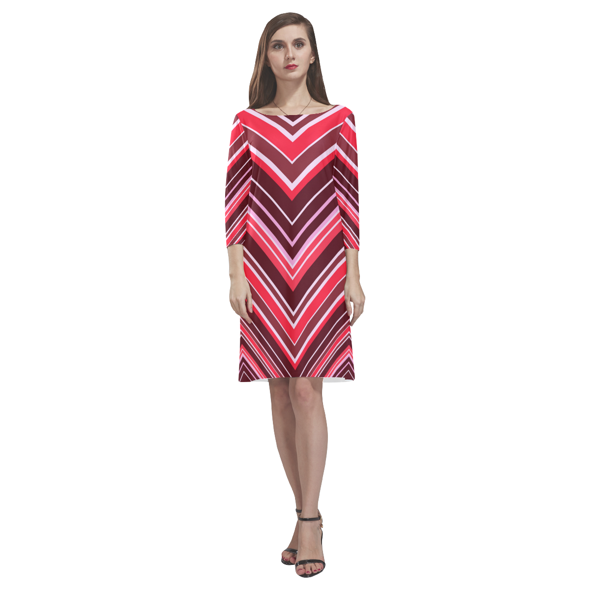 Red Chevron Pattern Rhea Loose Round Neck Dress(Model D22)
