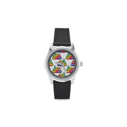 Unicorn Poop Kid's Stainless Steel Leather Strap Watch(Model 208)