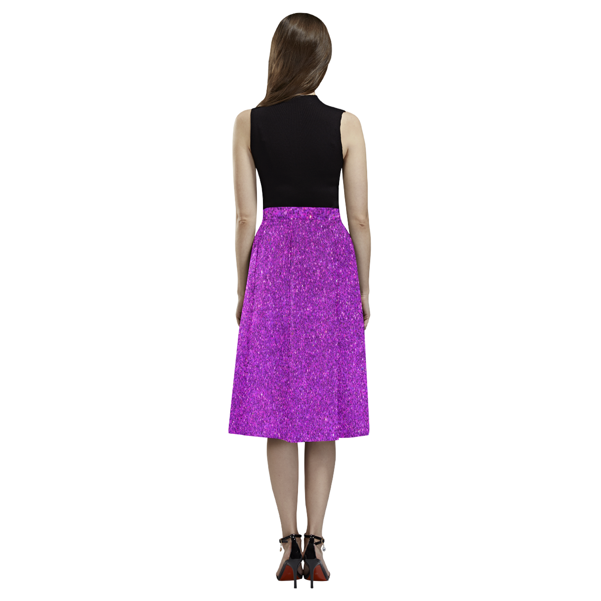 purple glitter Aoede Crepe Skirt (Model D16)