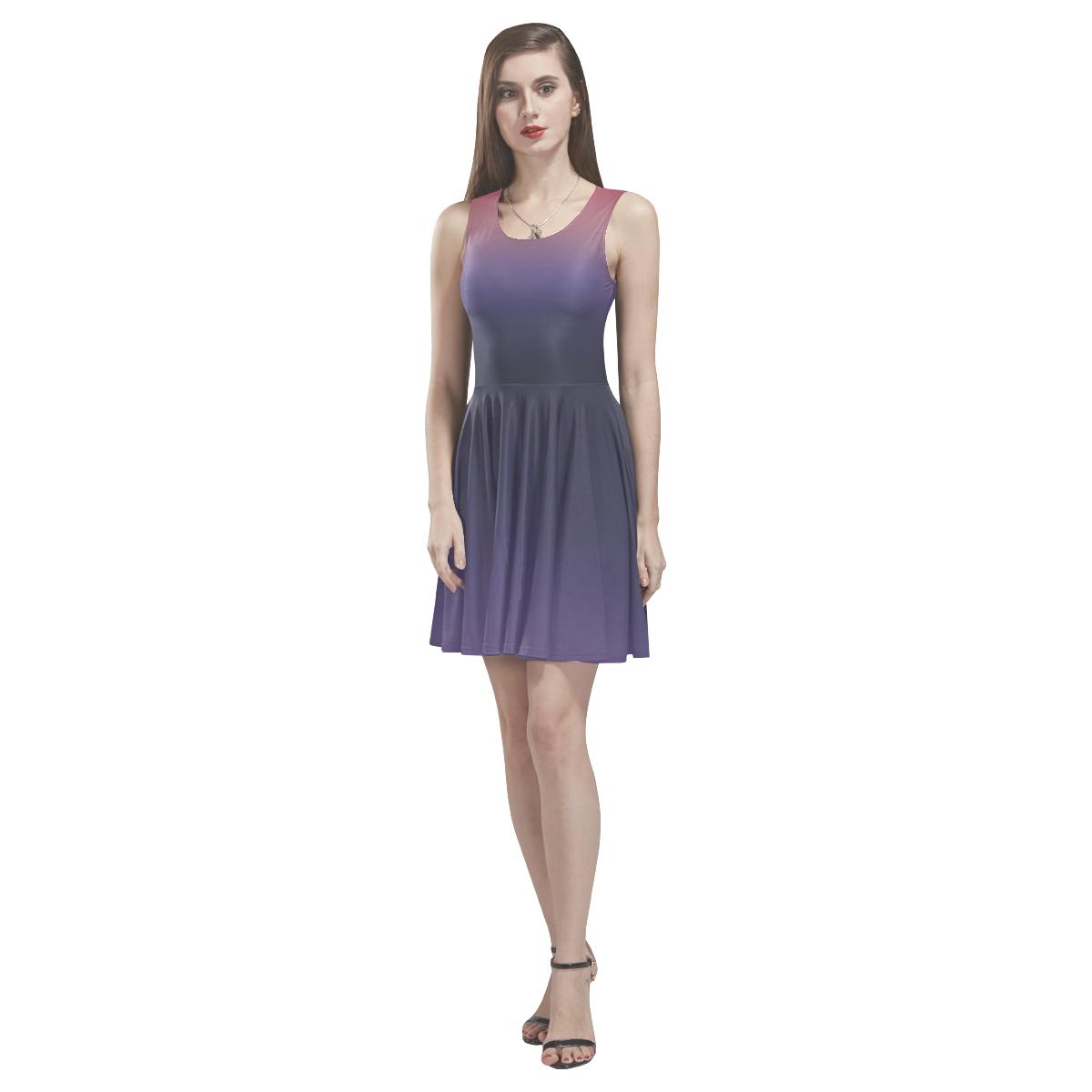 Purple Ombre Gradient Thea Sleeveless Skater Dress(Model D19)